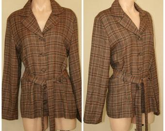 Vintage Retro 70s 60s Jubilation of California Button Front Plaid Jacket w Belt sz L