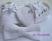 Christening baby boy shoes,soft sole shoes,crib shoes,white baby shoes ,baby bow tie,baby gift set