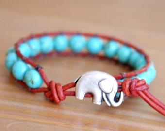 Turquoise Jewelry, Elephant wrap bracelet, Genuine Leather, boho, good luck charm, Teal Magnesite, hipster, gift idea, jewelry, Custom made