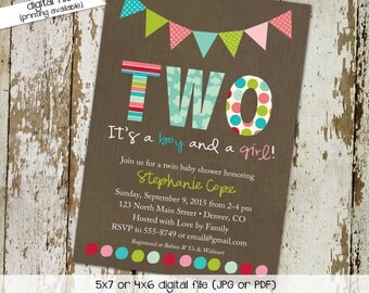 twin baby shower invitation polka dots bunting banner rainbow sip and see baby sprinkle birthday diaper (item 1514) shabby chic invitations
