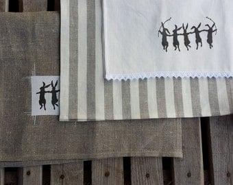 "3 ""Dancing bunnies"" towels,Linen tea towel,striped towel,spring towel, easter towel, hostess gift, handmade tea towel, printed towel,"