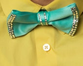 The Spring Bling Tie: Robin's Egg Blue Bow Tie with Swarovski Crystals