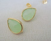 Gold Crystal Stone light green mint Earwires, Earring Findings, Studs, Posts, 2 pc, HY2396