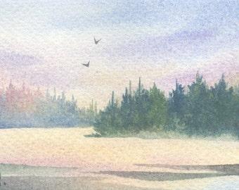 Original ACEO watercolor painting - Golden light