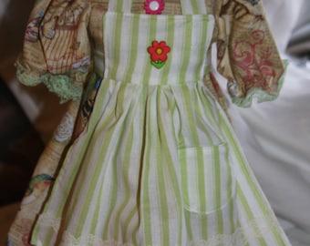doll 18 in doll, doll dress, apron. floral print, green striped, flower buttons, vintage trim, butterflies, birds. flowers,