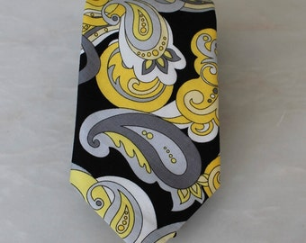 Men's Necktie in Yellow and Black Paisley - Fathers Day Gift or Wedding attire