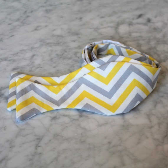 Bow Tie in Yellow, White, and Gray Chevron - Groomsmen and wedding tie - clip on, pre-tied with strap or self tying
