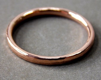 14K Rose Gold Ring, Medium Rose Gold Stacking Ring, Solid 14K Rose Gold Ring - Made to Order