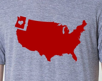 mens northwest U.S. tshirt- American Apparel athletic gray- available in s,m, l, xl, xxl- WorldWide Shipping