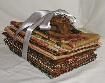 Lot of Decorating Fabric Samples and Scraps in Brown and Tans Florals, Paisleys and Stripes
