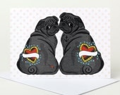 Black Pug Love Card - personalise with names (valentine's day card, engagement card, anniversary card, wedding card, customise)