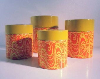 Vintage Retro Yellow Orange Graphic Design Tins / Canisters by Counterpoint San Francisco.. Made in Japan.. metal container / box / canister
