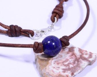 Lapis Lazuli Choker Necklace Single Bead On Leather Cord Gemstone Western Style Jewelry