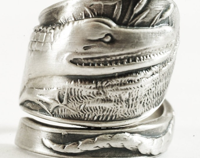 Crocodile Ring, Alligator Ring, Gator Ring, Spoon Ring Sterling Silver, Animal Ring, Reptile Jewelry, Gator Jewelry, Adjustable Size (1233)