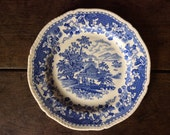 Vintage English Seaforth Blue and White Asian Farming Design Motive Lunch Sized Plate circa 1930's / English Shop