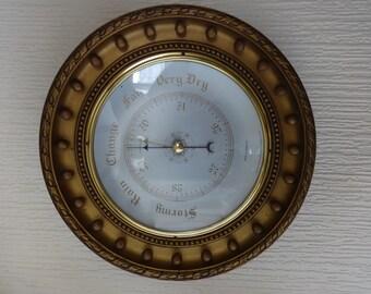 Vintage English extra large and heavy wood surround barometer weather forecaster circa 1960's / English Shop