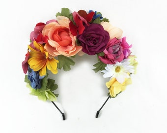 Day of the Dead Flower Crown, Frida Flower Crown, Frida Kahlo, Dia de los Muertos Headpiece, Bohemian, Mexican Headpiece, Mexican Weddings