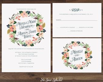 Flower Wedding Invitation, Garden, Peach, Navy, Coral, Vintage, Shabby, Bohemian, Chic, Custom, Mint, Peach, Printable, DIY, Template, Blush