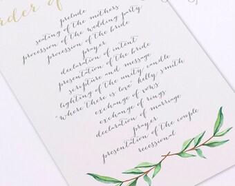 Calligraphy Ceremony Program - Printable - DIY - Watercolor Flowers - Bohemian - woodland