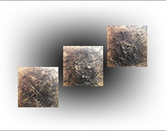 Triptych Abstract Original Painting  Gold  Impasto Pallet knife Canvas Art Office Decor Bedroom -12 x 36 -Skye Taylor