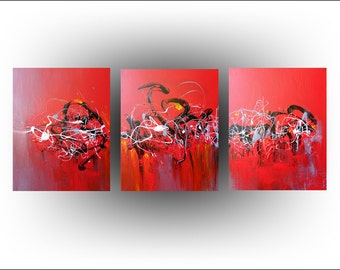 Triptych Abstract Acrylic Red Painting Original painting Canvas Art - 20 x 48 - by Skye Taylor Fine art