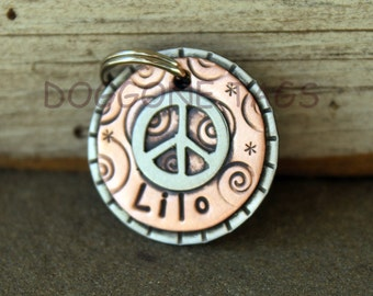 Small Pet ID tag for Dogs and Cats with Peace Sign- Peace