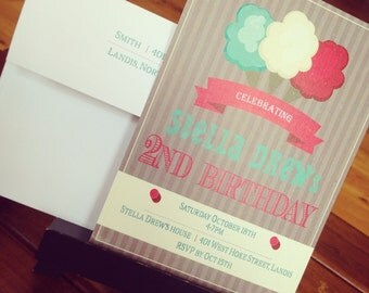 Cotton Candy Invitations, lot of 25