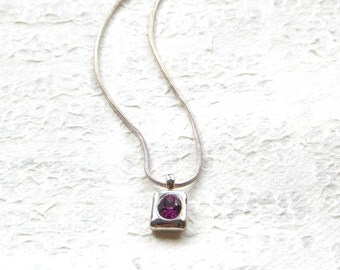 Flash Sale VINTAGE Purple Rectangular Pendant on Chain - Choker Length Silver Plated Necklace  / 1990s Costume Jewelry, Simple Design