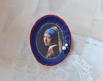 vermeer girl with a pearl earring - lightweight brooch - felt genre painting brooch - johannes vermeer brooch - gift for her - dutch artist
