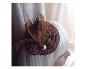 Fascinator / Brooch,Copper & Gold Knit Yarn Embellished With Feathers, Gold Cabuchon, Dual Purpose Pin / Clip Hair, Coat, Bag, FREE SHIP USA