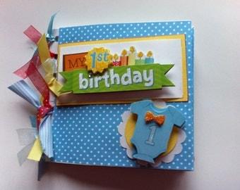 Babys first birthday scrapbook album baby boy first birthday album first birthday gift mom brag book premade