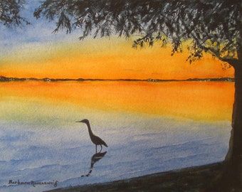 Bird Painting Original Bird Art Original Sunset Watercolor Painting Wildlife Bird Painting Seashore Beach Home Decor Gift Barbara Rosenzweig