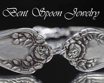 Silver Spoon Bracelet, Vintage Rosemary 1906 Ornate Spoon Bracelet..Silverware Jewelry