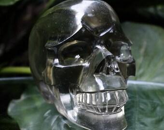 """VIVID 4.6"""" Smelted Quartz Carved Crystal Skull 2.12 LB  Healing C0613 (Nose Damaged)"""