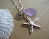 Purple Sea Glass Starfish Necklace Personalized Stamped Initial Lavender Beach Glass Bridesmaid Jewelry Bridesmaids Gifts Beach Wedding
