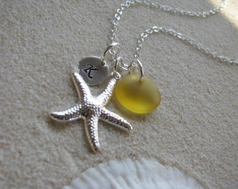 Yellow Sea Glass Starfish Necklace Personalized Stamped Initial Yellow Wedding Bridesmaid Jewelry Beach Glass Beach Bridesmaids Gifts