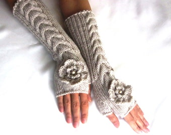 LONG Fingerless Gloves, Merino Wool Mittens, Women Arm Warmers , Hand Knitted, Eco Friendly