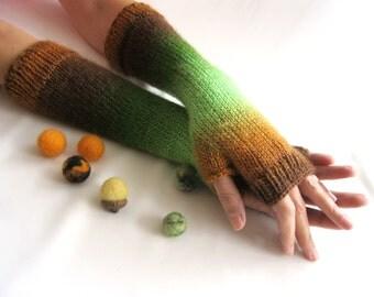 LONG Fingerless Gloves,Woodland colors