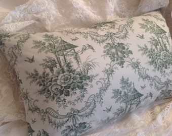 TOILE PILLOW COVER Green and off white  romantic garden print