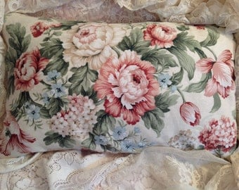 Pillow Cover Shabby colors pink Aqua pale blue ROSES and Lovely cottage garden flowers Pillow sham
