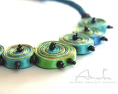 Textile necklace yellow, blue, green, fiber pendant green, statement necklace - Handmade jewelry OOAK  ready to ship