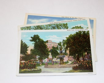 3 Vintage Council Bluffs Iowa Postcards Used