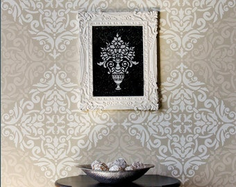 Anastasia Damask Tile Wall Stencil Allover Pattern for Wall Decor DIY Wallpaper Look