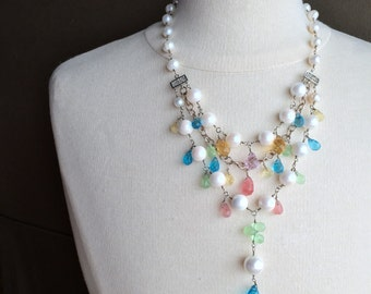 Pearl Crystal and Sterling Silver Layered Statement Necklace
