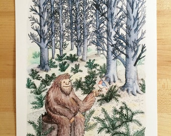 Sasquatch in the Forest- Print- 8x10