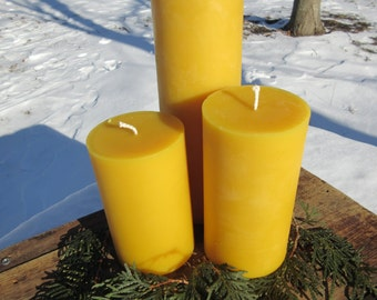 "Set of 3 Pillar Beeswax Candles-  each 3"" wide"