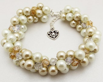 Bridesmaid Pearl Bracelet, Champagne and Ivory Pearl Bracelet, Bridal Jewelry, Wedding Bracelet