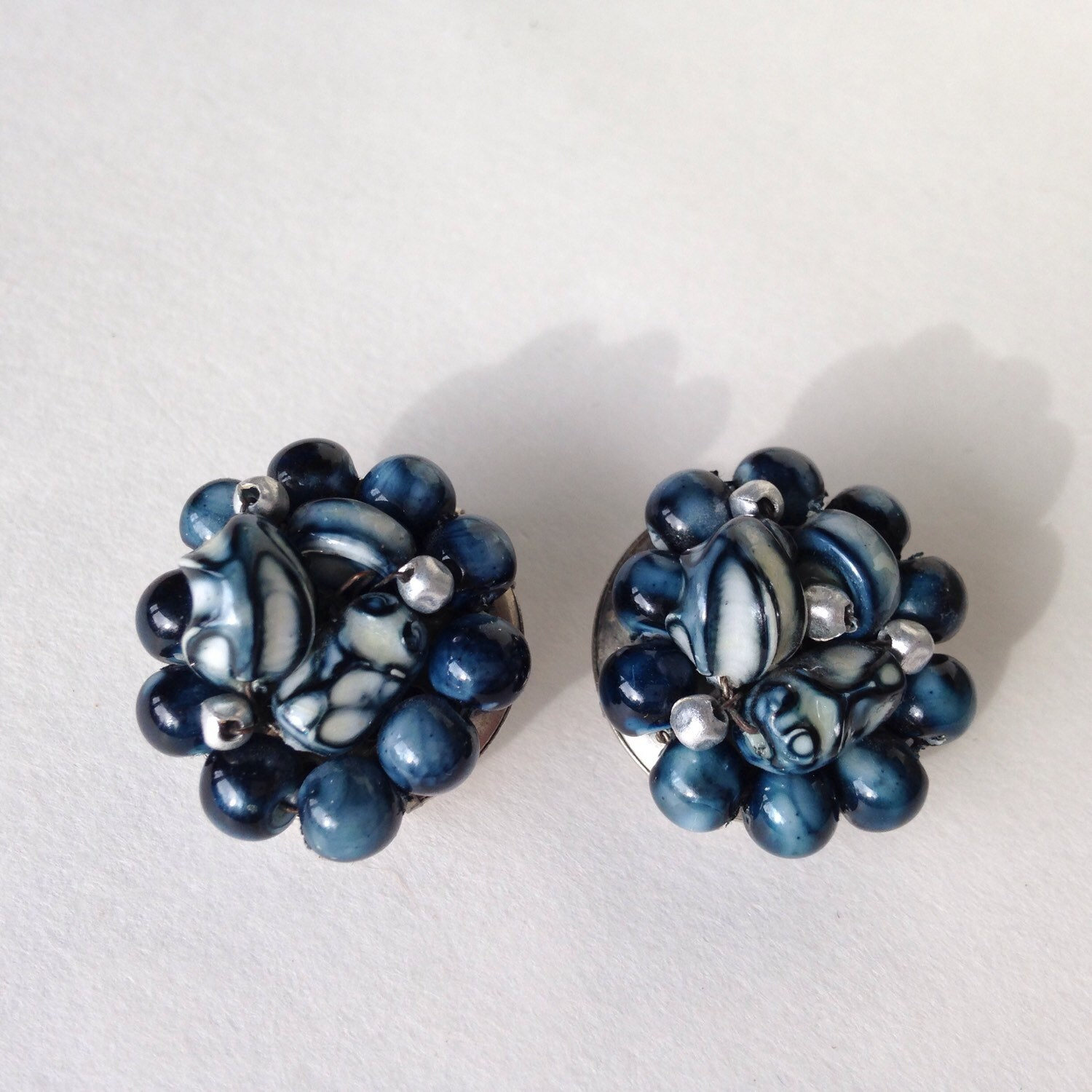 vintage blue hong kong beaded earrings haute juice