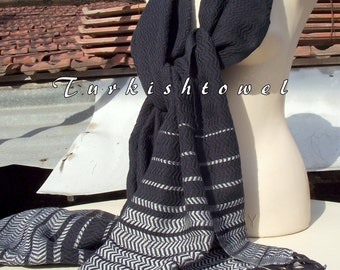 Turkishtowel-2015 Collection-Hand woven,loose weave like gauze cotton warp and weft,soft Shawl-Very warm,lovely-Black and grey pin stripes