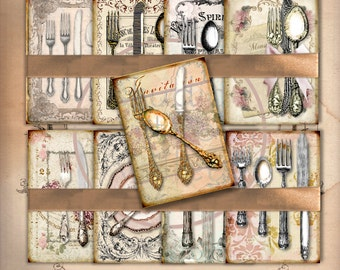 INVITATION - Digital Collage Antique French Table Silverware 2.5x3.5 inch ATC Scrapbooking Supllies Background Card Making Gift Tags